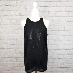 Sanctuary black sequined wrap back sleeveless top